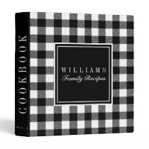 Black and White Buffalo Plaid Recipe Cookbook 3 Ring Binder