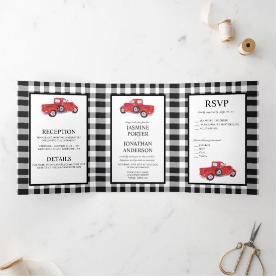 Black and White Buffalo Plaid Red Truck Wedding Tri-Fold Invitation