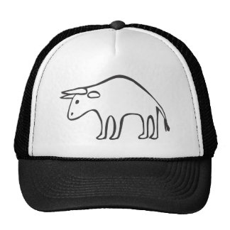 Black and White Bull in Sketch Form Trucker Hat