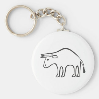 Black and White Bull in Sketch Form Basic Round Button Keychain