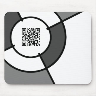 black and white bullseye QR code Mouse Pad