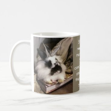 Professional Business Black and white bunny on a book coffee mug