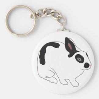 Black and White Bunny Rabbit Basic Round Button Keychain