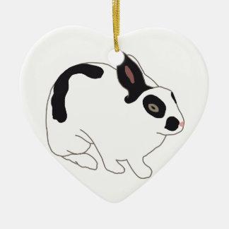 Black and White Bunny Rabbit Ceramic Ornament