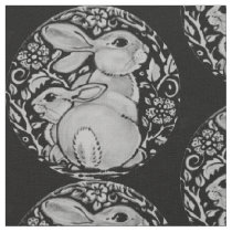 Black and White Bunny Rabbit Fabric Gray Medallion