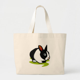 black and white bunny rabbit large tote bag