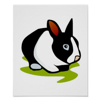 black and white bunny rabbit poster