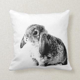 Black and White Bunny Throw Pillow