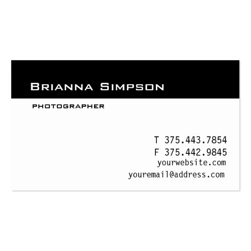 Black and white business card template zazzle for White business card template