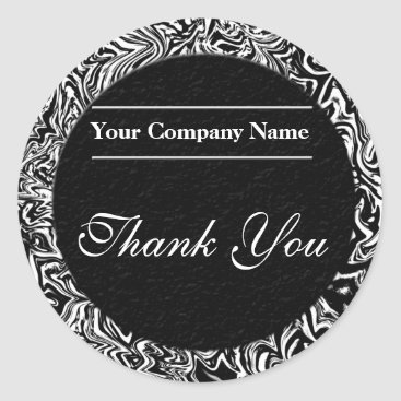 Professional Business Black and White Business Thank You Stickers