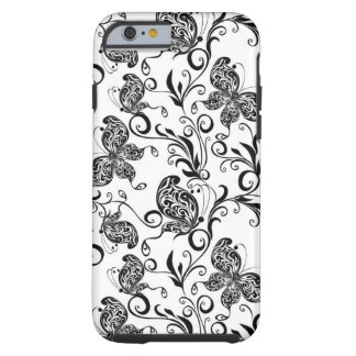 Black And White Butterflies And Swirls Pattern Tough iPhone 6 Case