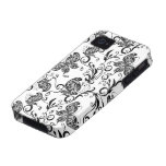 Black And White Butterflies  And Swirls Pattern iPhone 4/4S Covers