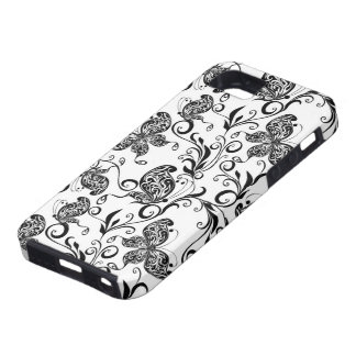 Black And White Butterflies  And Swirls Pattern iPhone 5 Cases
