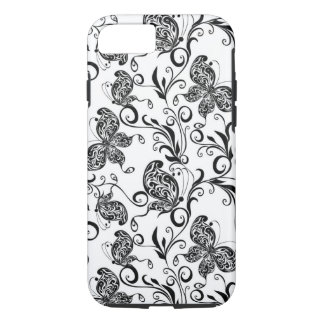 Black And White Butterflies And Swirls Pattern iPhone 7 Case