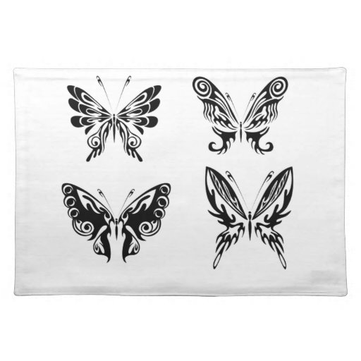 black and white butterflies cloth placemat zazzle. Black Bedroom Furniture Sets. Home Design Ideas