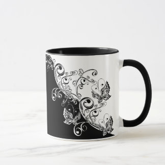 Black and White Butterflies Combo Mug