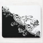 Black and White Butterflies Mouse Pad