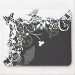 Black and white butterflies Mousepad
