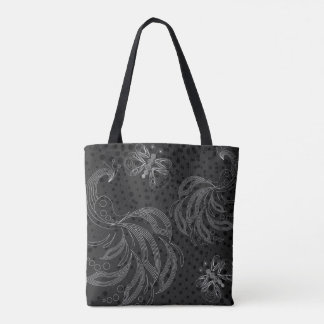 Black and white butterfly and peacock pattern tote bag