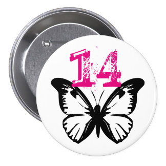Black and white butterfly button for age 14.