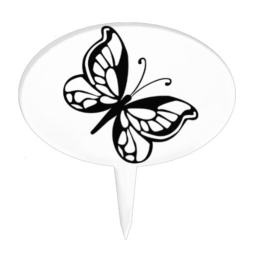 Black and White Butterfly Cake Picks