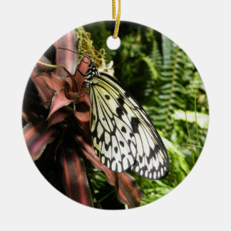 Black and White Butterfly Ceramic Ornament