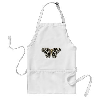 Black and white butterfly,coral pink background adult apron