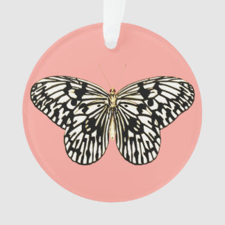 Black and white butterfly, coral pink background ornament