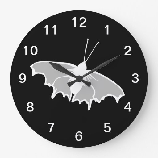 Black and White Butterfly Design. Clock