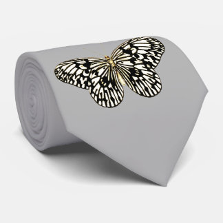 Black and white butterfly, grey / gray background neck tie