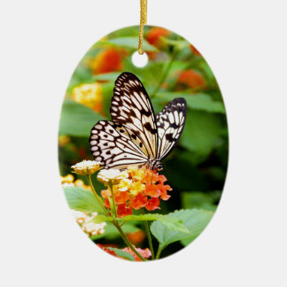 Black and white butterfly in spring garden print ceramic ornament