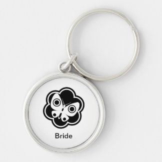 Black and White Butterfly Silver-Colored Round Keychain