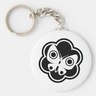 Black and White Butterfly Basic Round Button Keychain