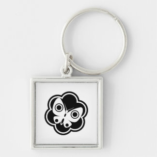 Black and White Butterfly Silver-Colored Square Keychain