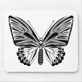 Black and white butterfly mouse pad