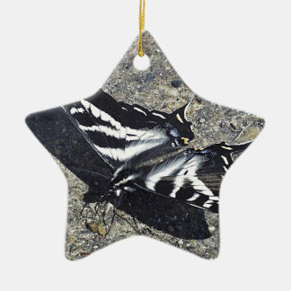 Black and White Butterfly on Concrete Ceramic Ornament