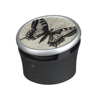 Black and White Butterfly on Cracked Background Bluetooth Speaker