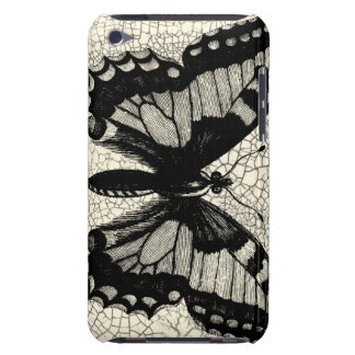 Black and White Butterfly on Cracked Background iPod Touch Cover