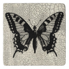 Black and White Butterfly on Cracked Background Trivet
