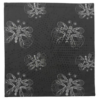 Black and white butterfly pattern with halftones cloth napkin