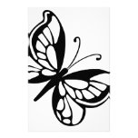 Black and White Butterfly Personalized Stationery