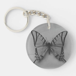 Black and White Butterfly Photo Keychain