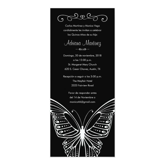 Black and White Butterfly Quinceanera Invitations