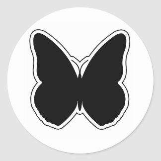 Black and White Butterfly Round Stickers