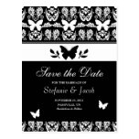 Black and White Butterfly Save The Date Postcard
