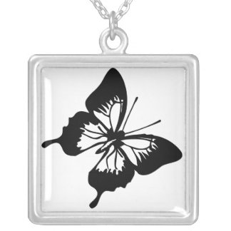 Black and White Butterfly Silver Plated Necklace
