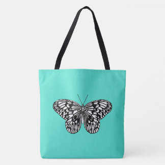 Black and white butterfly, turquoise background tote bag