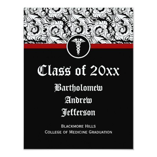 Black and White Caduceus Medical School Graduation Card