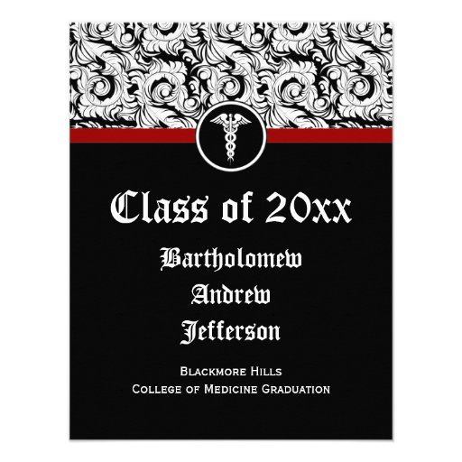 Black and White Caduceus Medical School Graduation Personalized Invitations