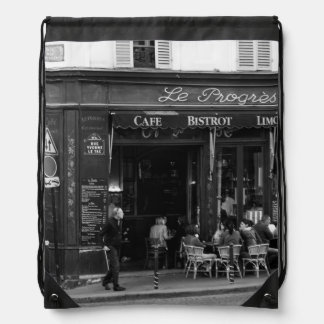 Black and White Cafe in Montmartre, Paris Drawstring Bag